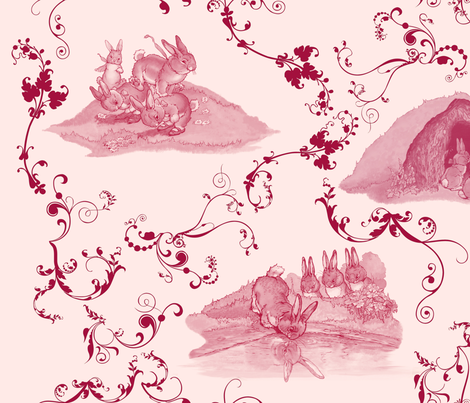 Bunny_Toile_pink fabric by shirlene on Spoonflower - custom fabric
