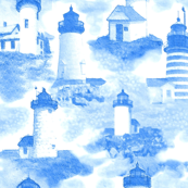 Maine Lighthouse Toile