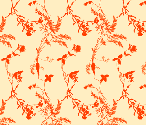 orange florae fabric by narthex on Spoonflower - custom fabric