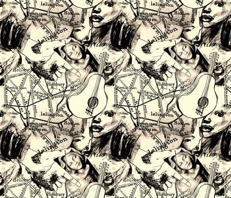 black and white (guitar) fabric by narthex on Spoonflower - custom fabric