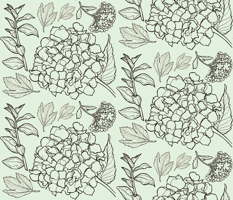 Blue Floral Hydrangea Toile fabric by amy_lou_who on Spoonflower - custom fabric