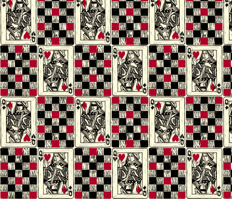 Chess Queen in Red and Black fabric by jenithea on Spoonflower - custom fabric