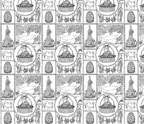 Easter_mini_toile fabric by victorialasher on Spoonflower - custom fabric