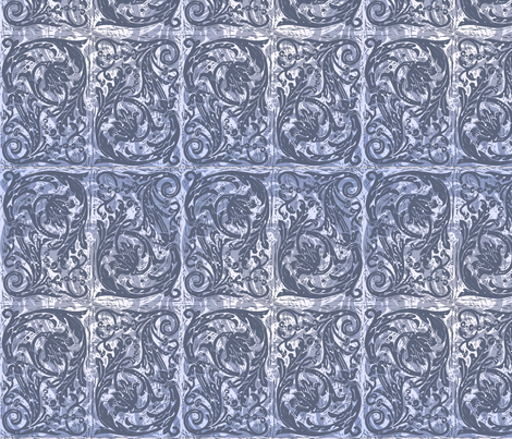 Baroque Curlicue in Blue fabric by jenithea on Spoonflower - custom fabric