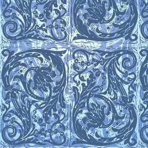 Baroque Curlicue in Blue