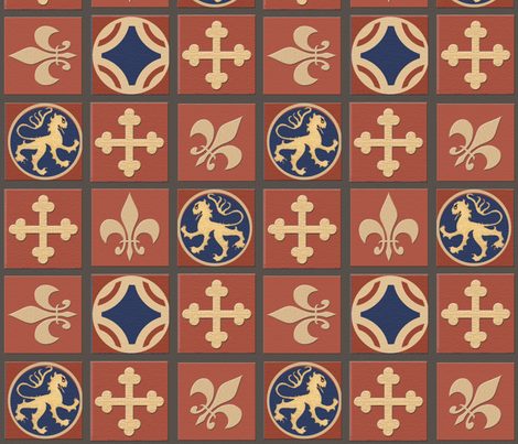 Medieval Tile Floorcloth fabric by poetryqn on Spoonflower - custom fabric