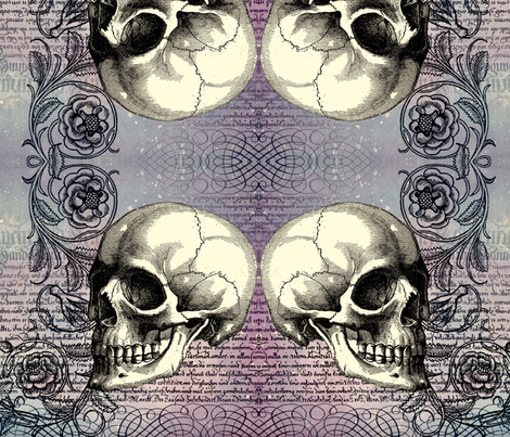 Skull Rose in Lavender (TIF) fabric by jenithea on Spoonflower - custom fabric