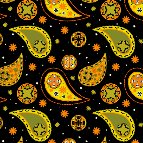 Halloween Paisley fabric by 13blackcatsdesigns on Spoonflower - custom fabric