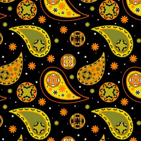 Halloween Paisley fabric by 13blackcatsdesigns on Spoonflower - custom fabric