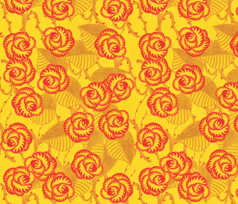 crayon roses fabric by thirdhalfstudios on Spoonflower - custom fabric