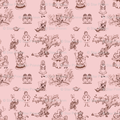 alice in wonderland toile in pink