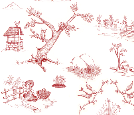 toile_red fabric by adriprints on Spoonflower - custom fabric