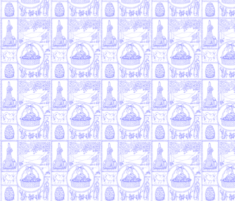 Easter_mini_toile_violet_resized fabric by victorialasher on Spoonflower - custom fabric