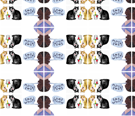 Say What: A Back Asswards Cat Fabric fabric by sofacitysweethearts on Spoonflower - custom fabric