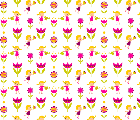 little spring girls  fabric by doroka on Spoonflower - custom fabric
