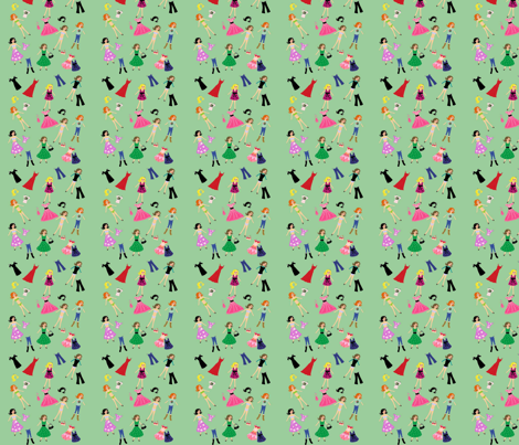 Paper Dolls Mint fabric by razberries on Spoonflower - custom fabric
