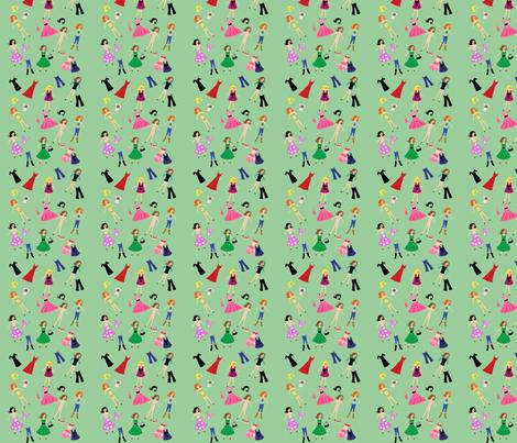 Paper Dolls Mint fabric by razberries on Spoonflower - custom fabric