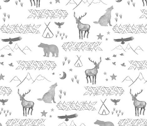 Watercolor Woodland fabric by mrshervi on Spoonflower - custom fabric