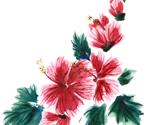 Hawaiian Hibiscus Watercolor fabric by leilehua on Spoonflower - custom fabric