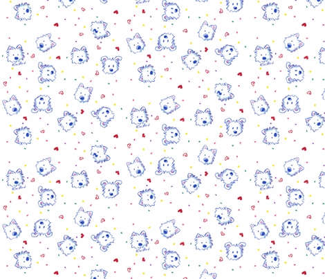 Westie Crayon Cuties fabric by kiniart on Spoonflower - custom fabric