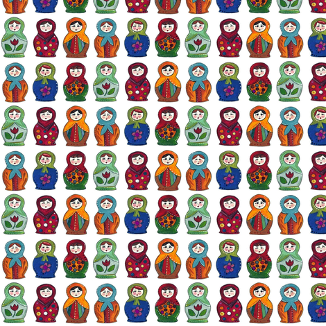 little matryoshka dolls fabric by scrummy on Spoonflower - custom fabric
