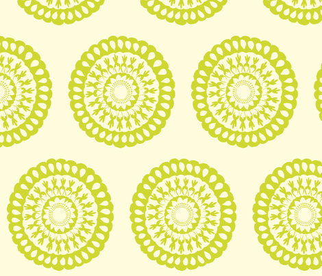 Lime Green Signature Medallion fabric by crimsonpear on Spoonflower - custom fabric