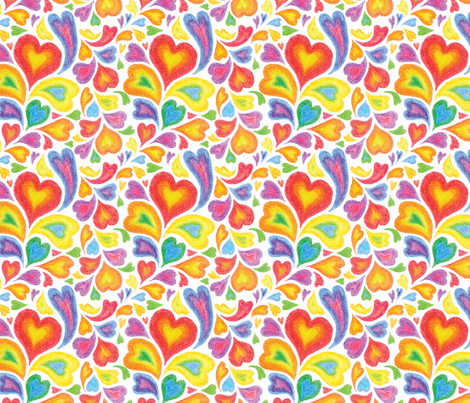 Will you be my Rainbow Valentine? fabric by sew-me-a-garden on Spoonflower - custom fabric