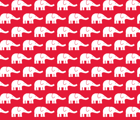 MEDIUM Elephants in red  fabric by katharinahirsch on Spoonflower - custom fabric