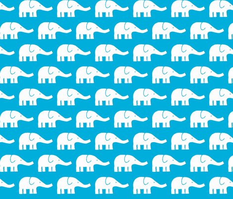 MEDIUM Elephants in teal  fabric by katharinahirsch on Spoonflower - custom fabric