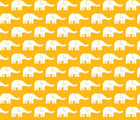 MEDIUM Elephants in yellow fabric by katharinahirsch on Spoonflower - custom fabric