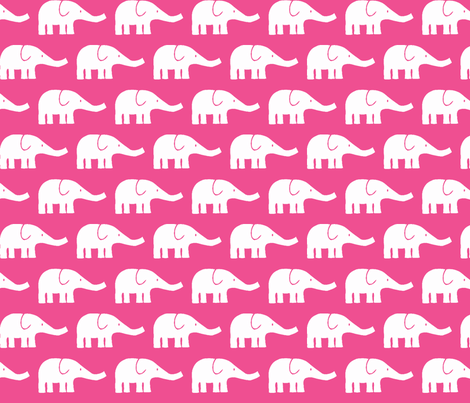 MEDIUM Elephants in dark pink  fabric by katharinahirsch on Spoonflower - custom fabric