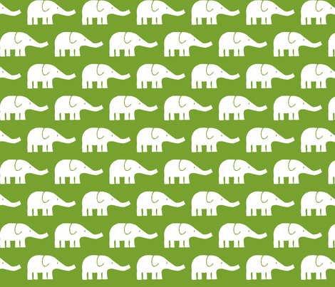MEDIUM Elephants in green fabric by katharinahirsch on Spoonflower - custom fabric
