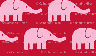MEDIUM Elephants in red and pink