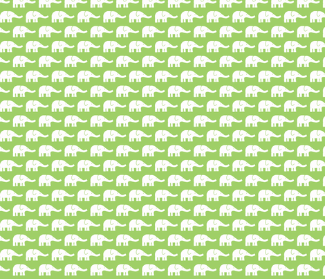 SMALL Elephants green fabric by katharinahirsch on Spoonflower - custom fabric