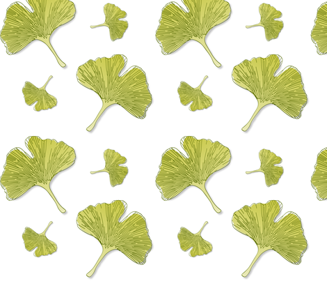 Ginkgo Leaves fabric by kadenza on Spoonflower - custom fabric