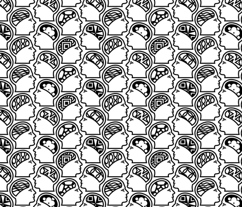 Head Lands Black fabric by thirdhalfstudios on Spoonflower - custom fabric