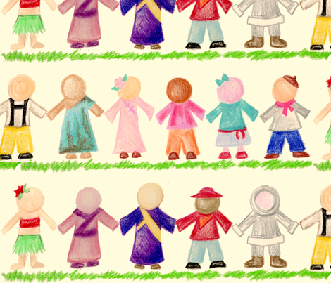 International Children Paper Dolls in Crayon fabric by amy_lou_who on Spoonflower - custom fabric
