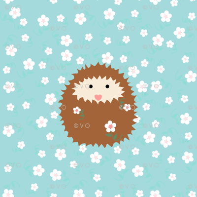 hedgie_with_flowers_tile_4_inch_T