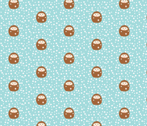 hedgie_with_flowers_tile_4_inch_T fabric by vo_aka_virginiao on Spoonflower - custom fabric