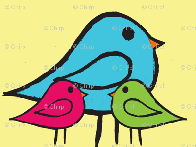 3 Little Birdies Fabric pink green blue