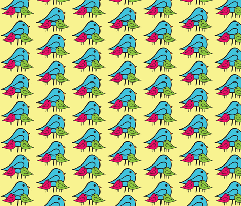 3 Little Birdies Fabric pink green blue fabric by chirp! on Spoonflower - custom fabric