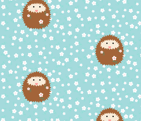 hedgie_with_flowers_tile_large_T_ fabric by vo_aka_virginiao on Spoonflower - custom fabric