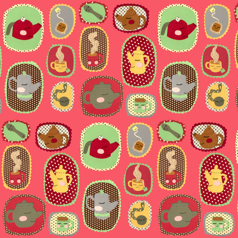 tea time pink fabric by heidikenney on Spoonflower - custom fabric