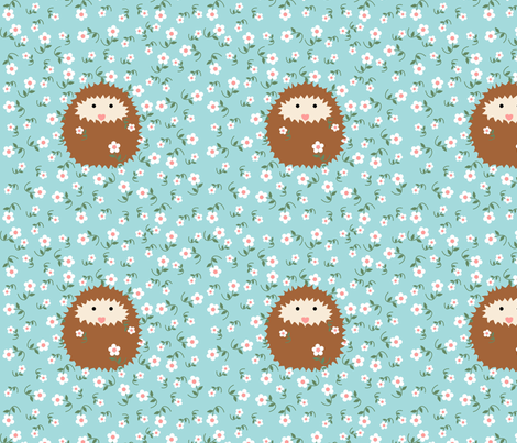 hedgie_with_flowers_stems_tile_T fabric by vo_aka_virginiao on Spoonflower - custom fabric