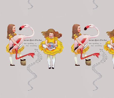 Alice and the Flamingo fabric by karenharveycox on Spoonflower - custom fabric