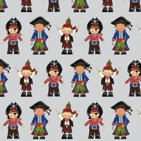 scrummy pirates grey fabric by scrummy on Spoonflower - custom fabric