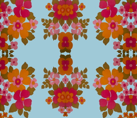 old_flowers_blue fabric by snork on Spoonflower - custom fabric