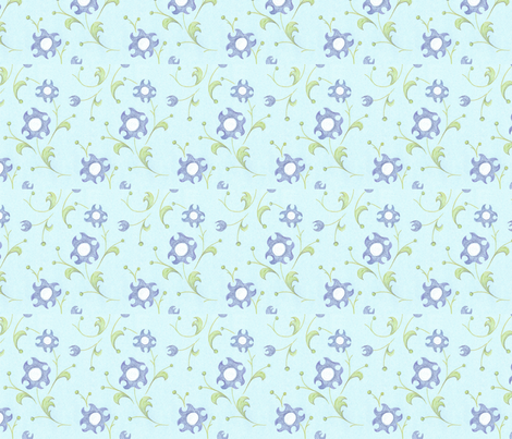 crayon_floral_blue_4inWide_150dpi fabric by ali_c on Spoonflower - custom fabric