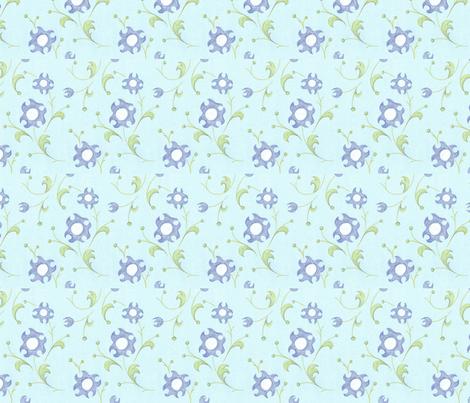 crayon_floral_blue_4inWide_150dpi fabric by ali_c on Spoonflower - custom fabric