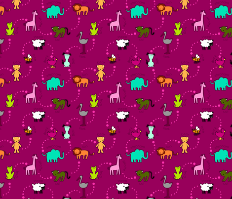 zoo_en_pink_knit fabric by renule on Spoonflower - custom fabric